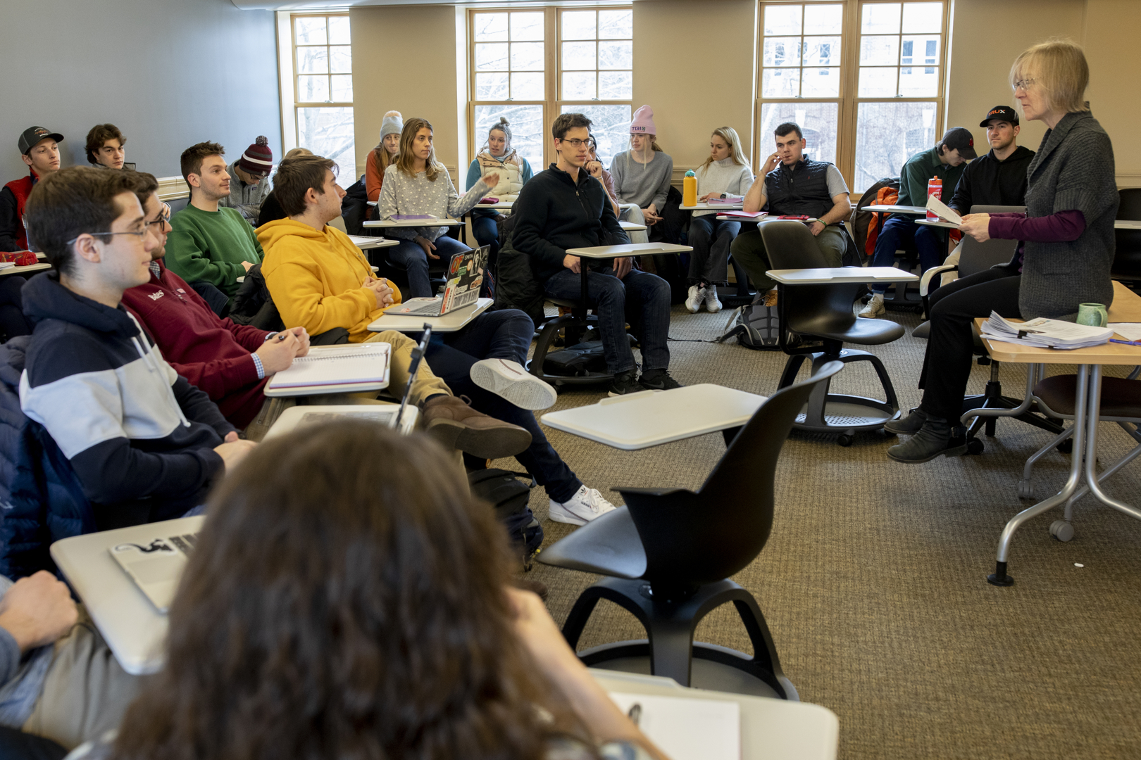 """Costlow lays out the course landscape for her """"Catastrophes and Hopes"""" students on the first day of the winter semester. (Phyllis Graber Jensen/Bates College)"""