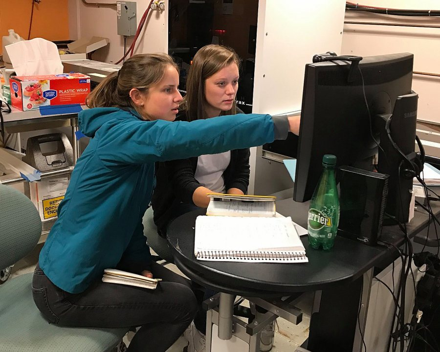 Emma Wheeler '20 (left) and and Inger Aasberg.of After great spring and summer field seasons in Svalbard comes the labwork....First stop, the RB Gilmore XRF lab at UMass for geochemical analysis of sediment cores and sed traps. With Inger Marie Fausa Aasberg (UNIS and NMBU) and Emma Lea Wheeler (Bates). Thanks to Pete Dawson and Mike Rhodes! Next stop, Bates Sedimentology Lab!