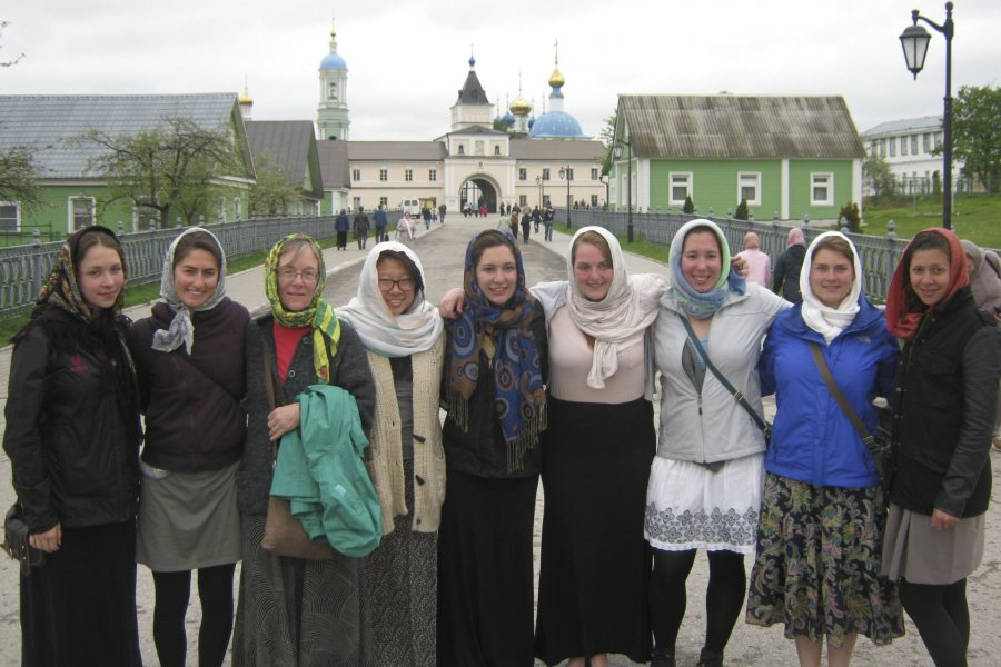 Costlow and some of her students, aka The Babushkas, at Optina Pustyn, the monastery that has been enormously important for Russian culture, in 2014. (Courtesy of Jane Costlow)