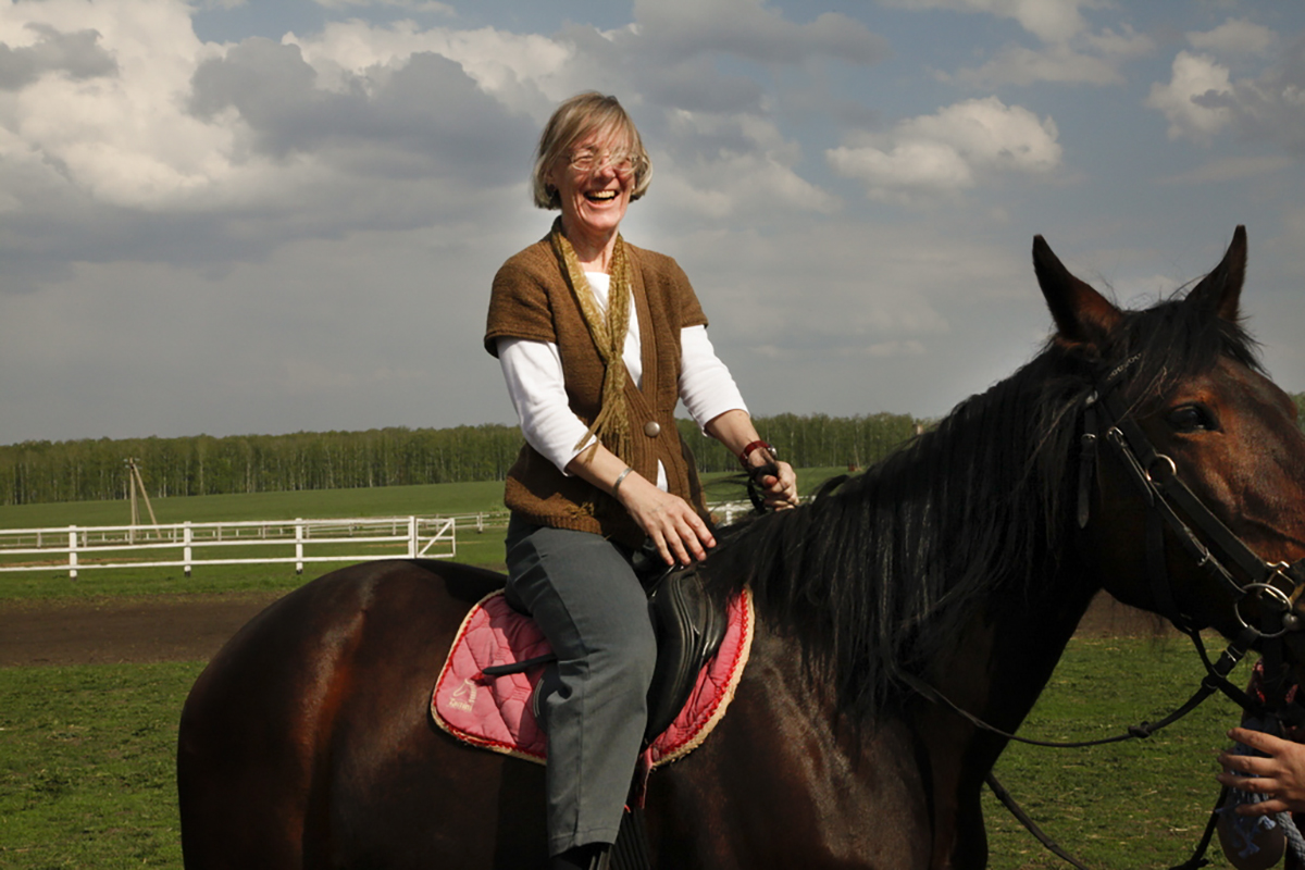 Costlow horseback riding in the Orel region in 2014, at the Zlynskii Stud Farm, a stable that dates back to pre-revolutionary Russia. (Courtesy of Jane Costlow)
