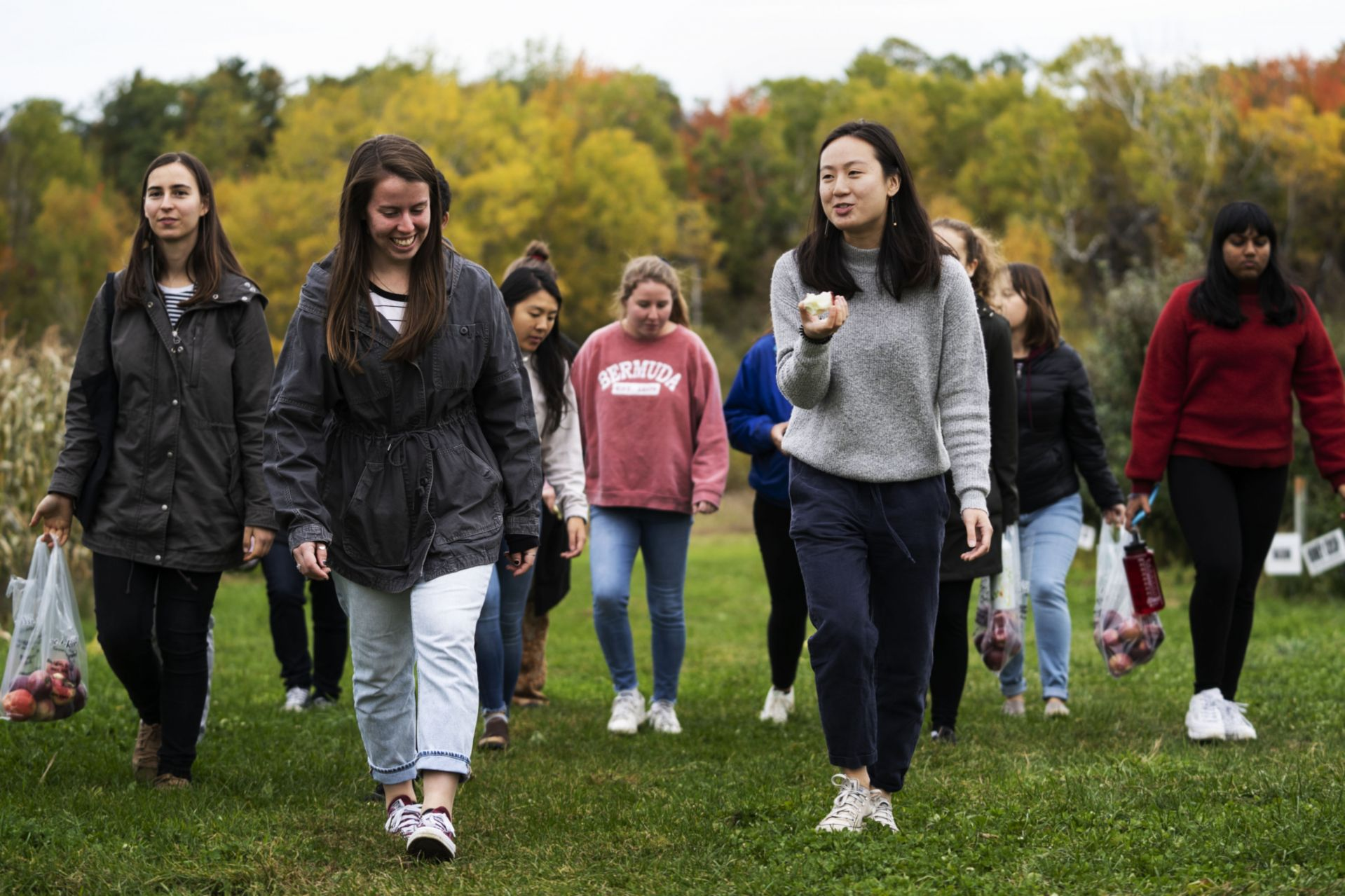 Cultural Exploration Club leader Ariel Lam along with participating students visit Wallingford's Fruit House for some apple picking in Auburn on October 14, 2019.
