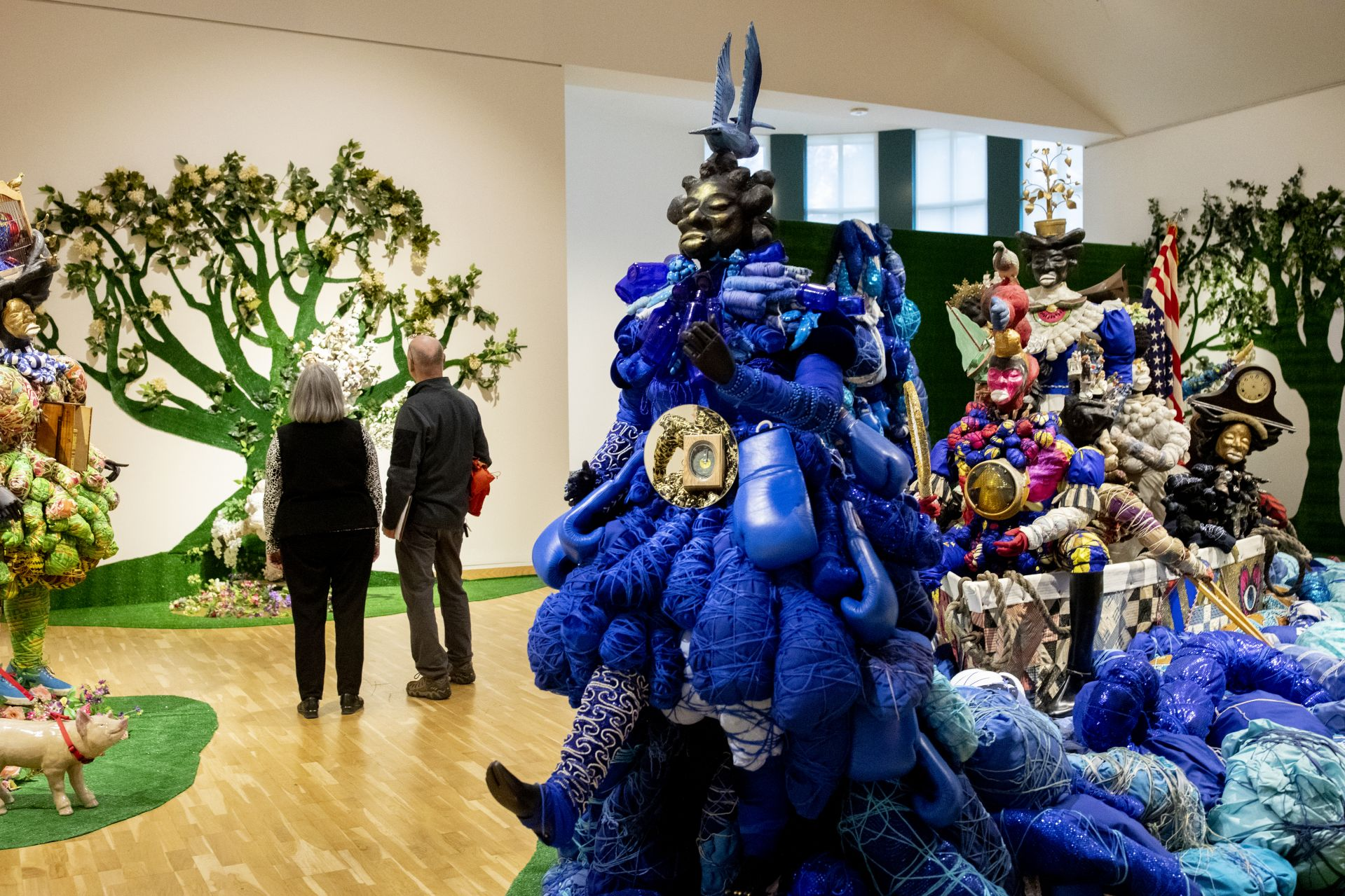 Vanessa German's exhibition, <em>Miracles and Glory Abound</em>, was shown in the Bates Museum of Art in 2019–20. (Phyllis Graber Jensen/Bates College)