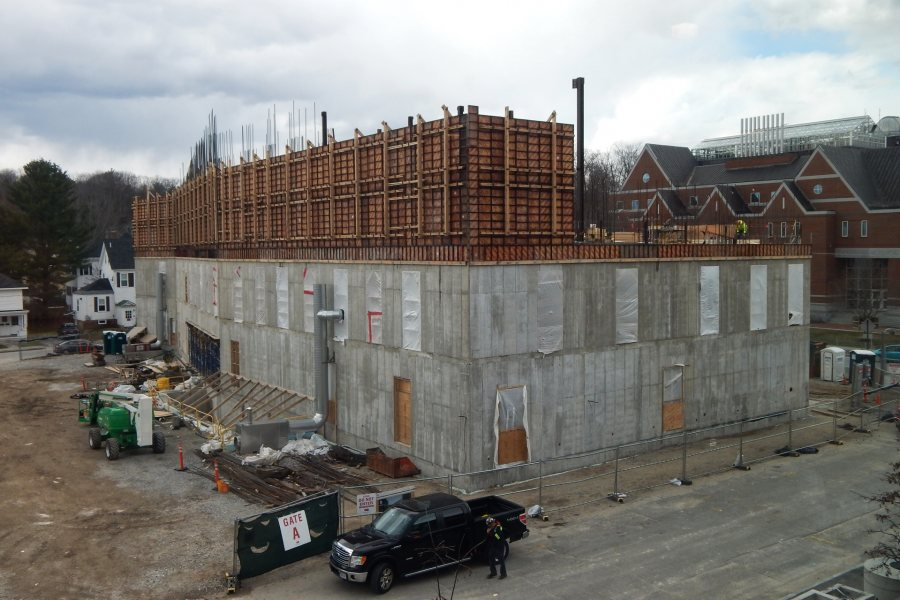 Wall forms enclose about half of the Bonney center's third level in mid-April. (Doug Hubley/Bates College)