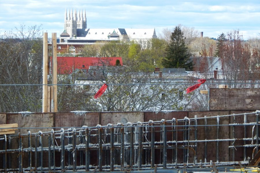 A view of the Basilica of SS Peter and Paul from the penthouse level of the Bonney Science Center. As the rebar indicates, a concrete floor slab and wall section have yet to be placed. (Doug Hubley/Bates College)