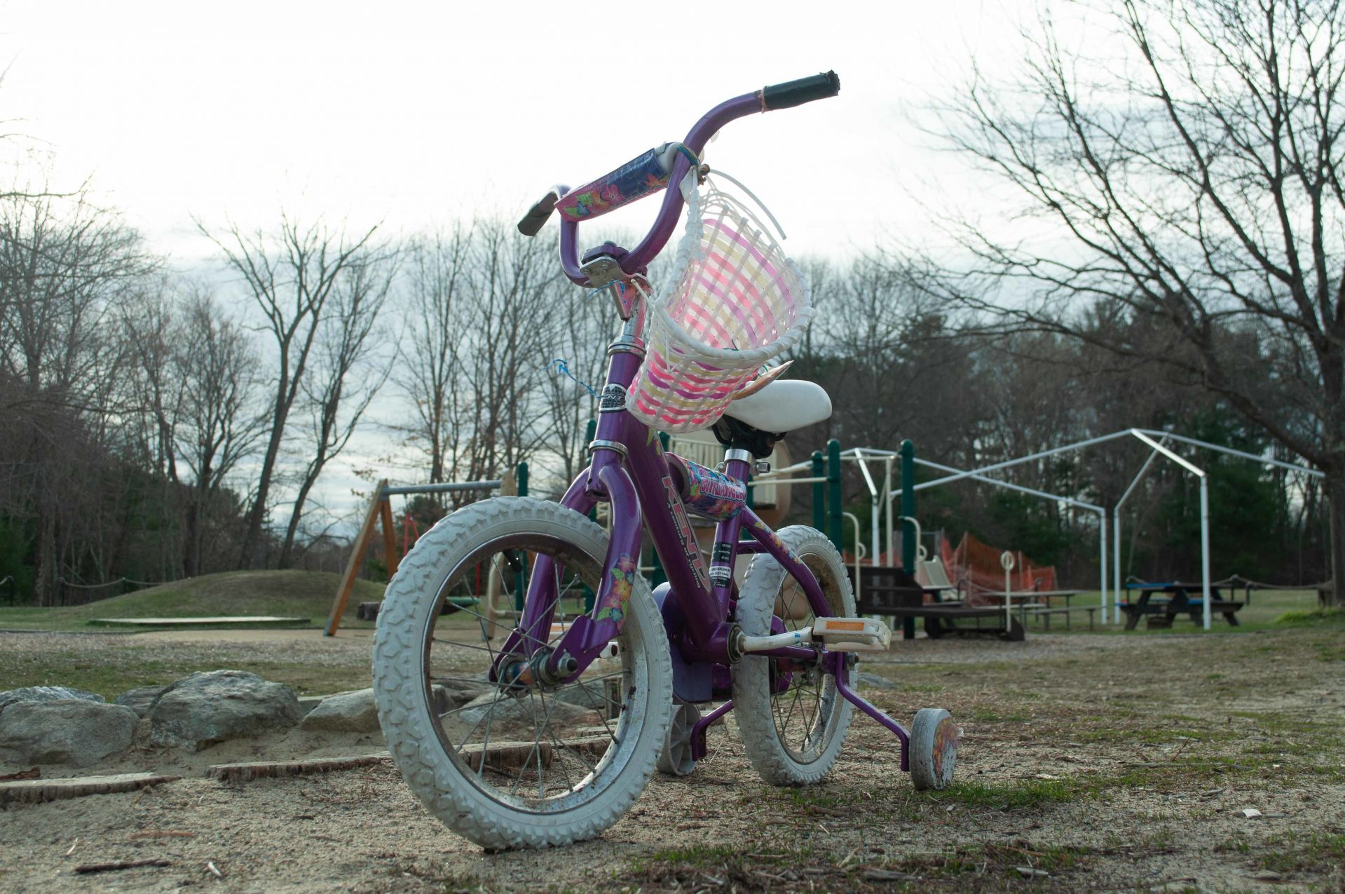 A child's bike sits near an empty playground on April 21, 2020. (Photograph by Nick Charde '22)