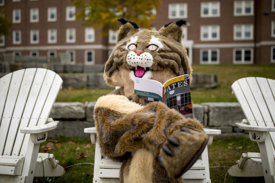 The Bates Bobcat swings through campus during the height of fall foliage.