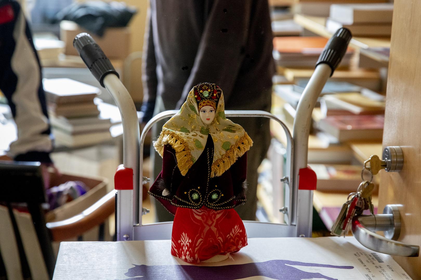 A Russian keepsake awaits packing. (Phyllis Graber Jensen/Bates College)