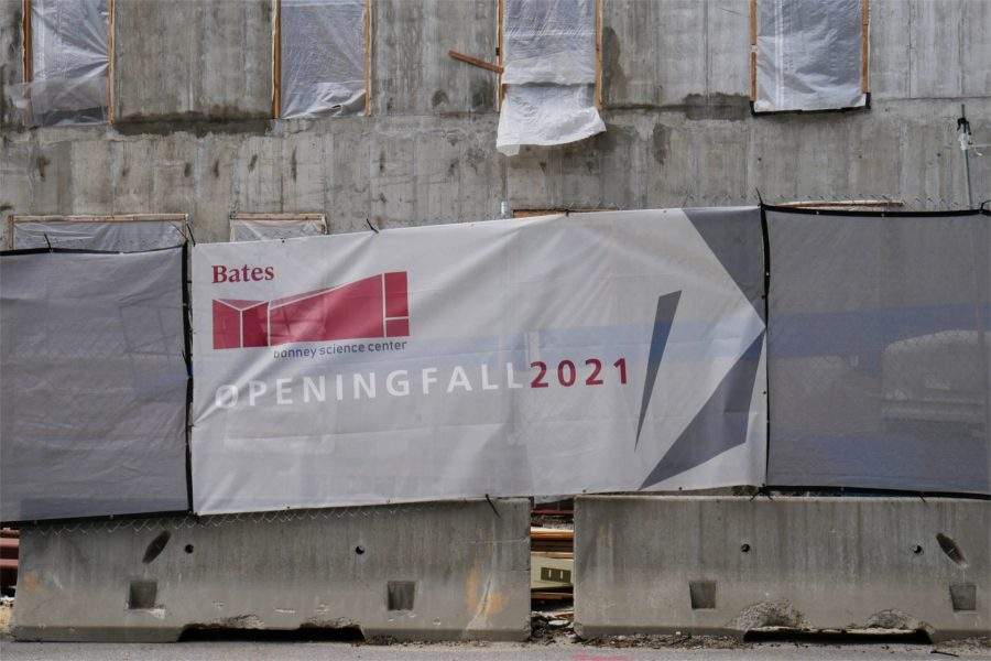 Coming attractions, or the Bonney center's north wall. (Doug Hubley/Bates College)