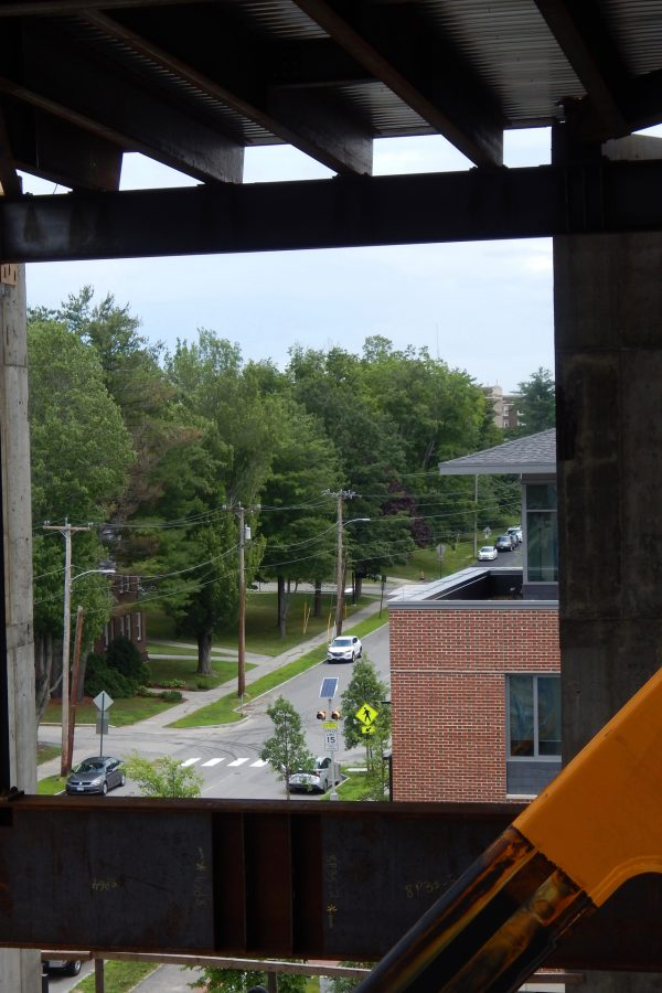 Looking east on Campus Avenue from the Bonney Center penthouse. (Doug Hubley/Bates College)