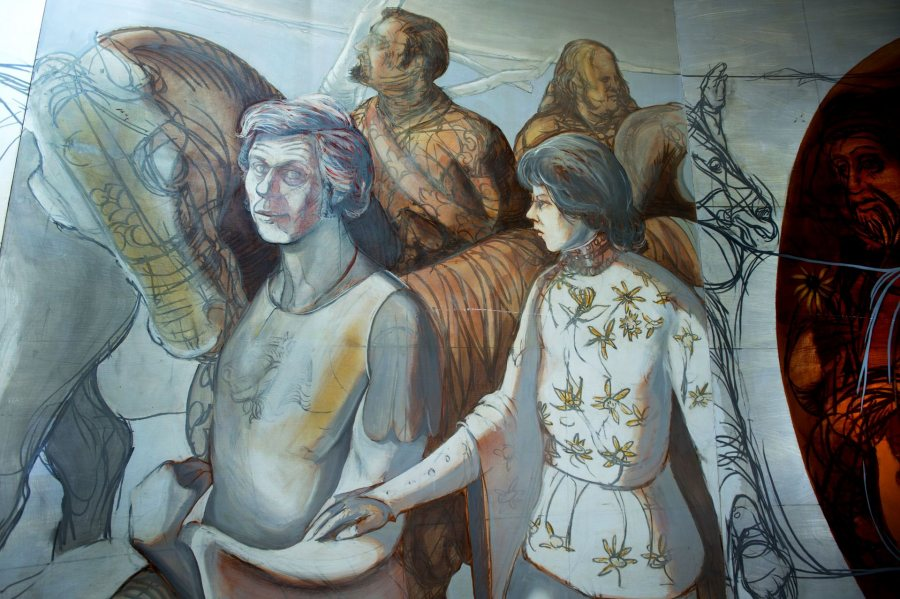 The Canterbury Tales mural in Chase Hall on May 9, 2013. (Mike Bradley/Bates College)
