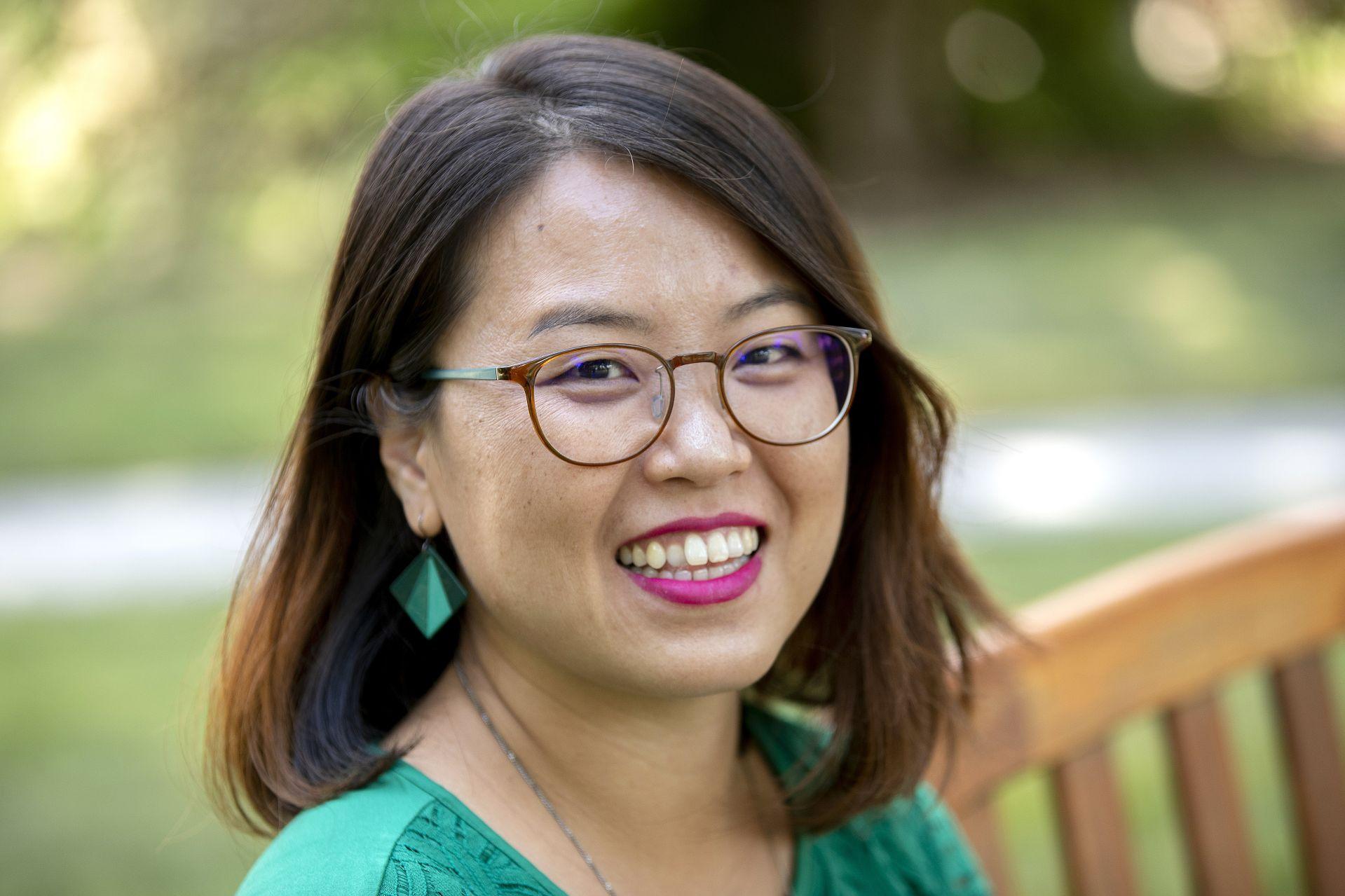 Assistant Professor of Politics Seulgie (Claire) Lim Assistant Professor of Politics poses on the historic Quad on Aug. 21, 2020.