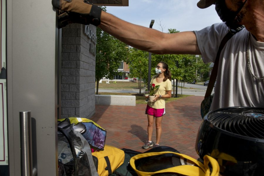 Move-In Day, the first of three successive days, on Aug. 25, 2020. Students start at Underhill for COVID-19 testing, go to Merrill for keys, head to residences, where they wait until based on the wrist bands they received at Underhill, head over to tent adjacent to Garcelon Field for a bagged lunch.