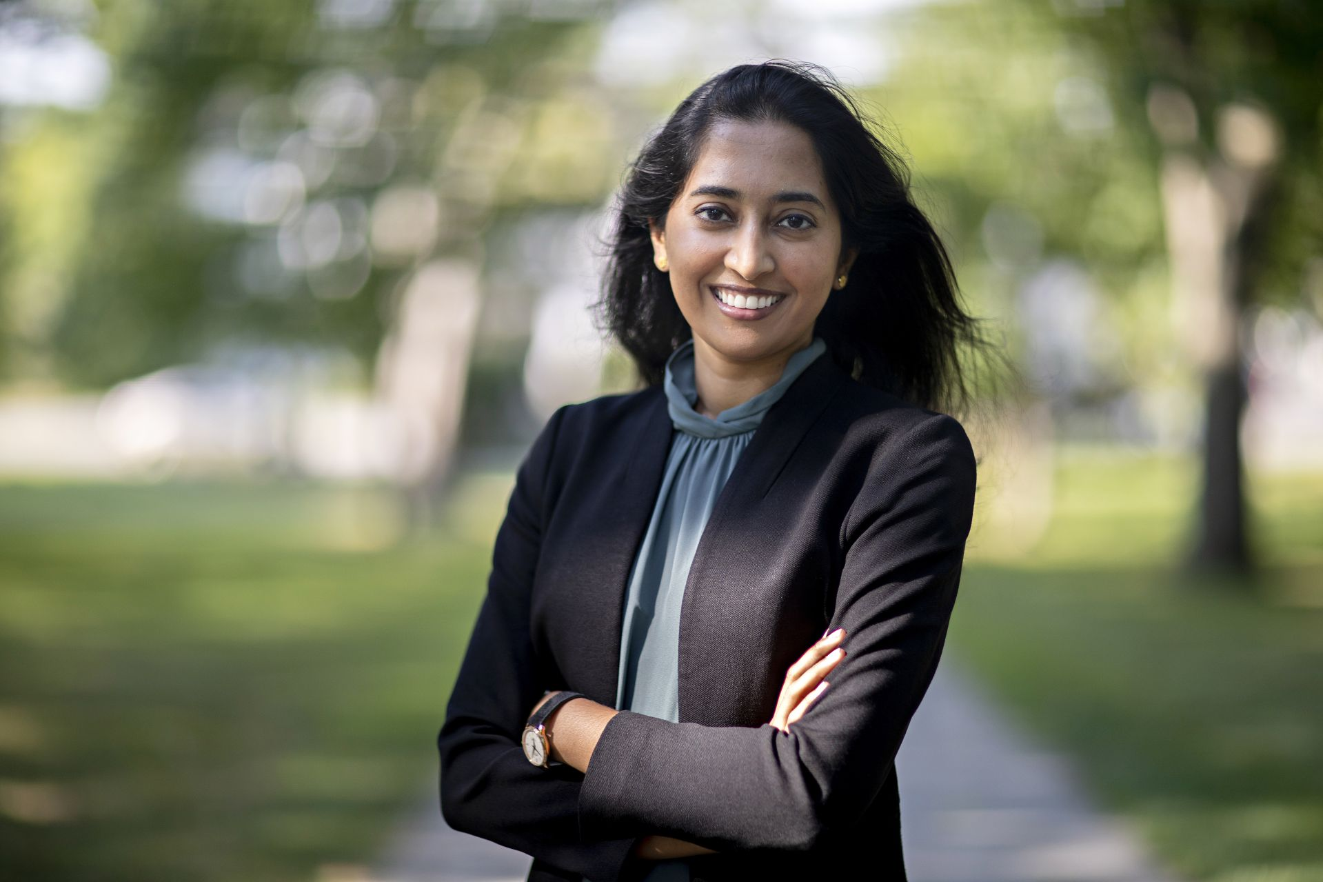 Assistant Professor of Economics Nivedhitha Subramanian  photographed on the historic Quad on Aug. 14, 2020.