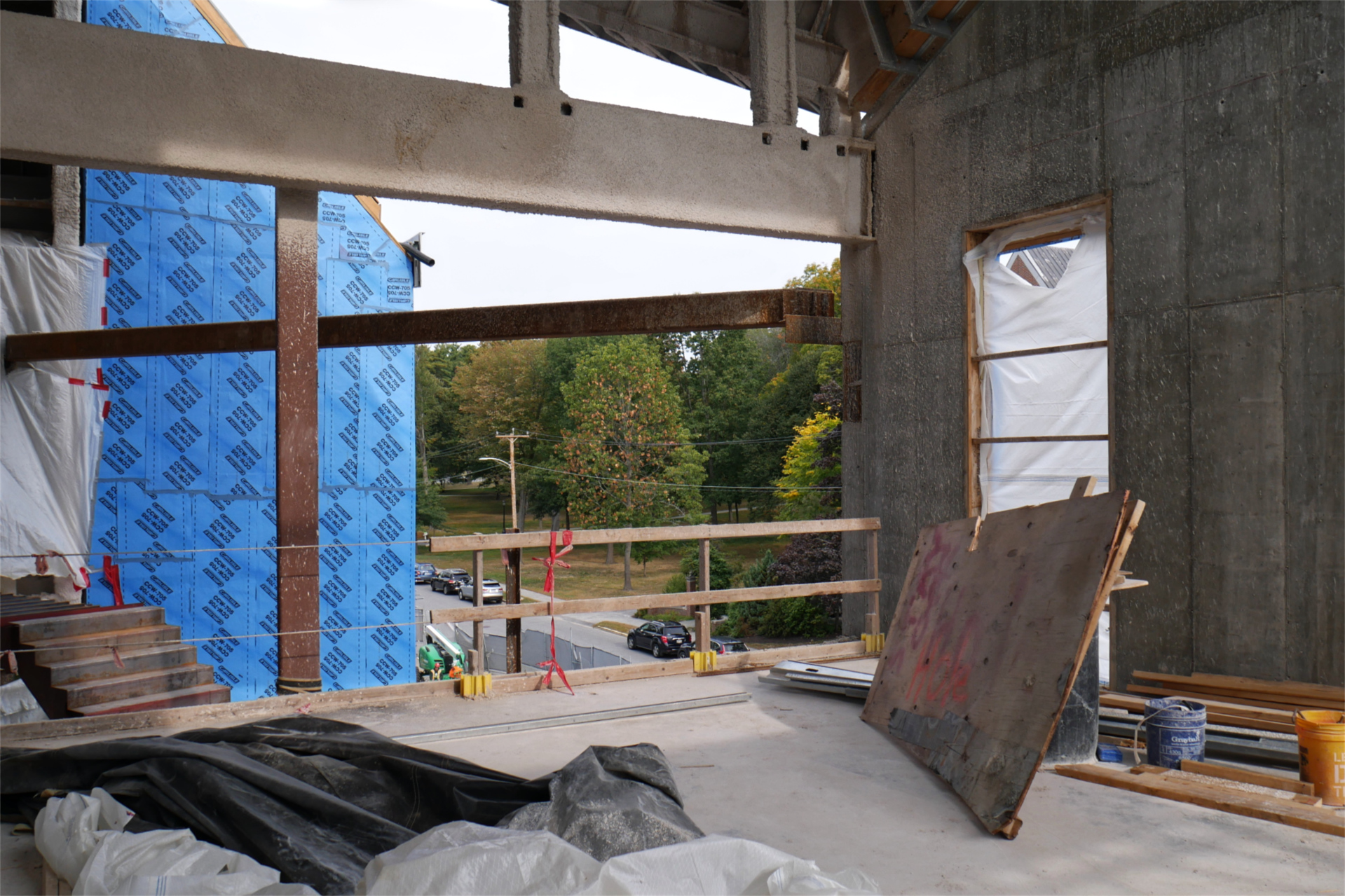 "Glass ""curtain walls"" on this third-floor classroom will provide views up and down Campus Avenue. This westward exposure reveals the Historic Quad. (Doug Hubley/Bates College)"