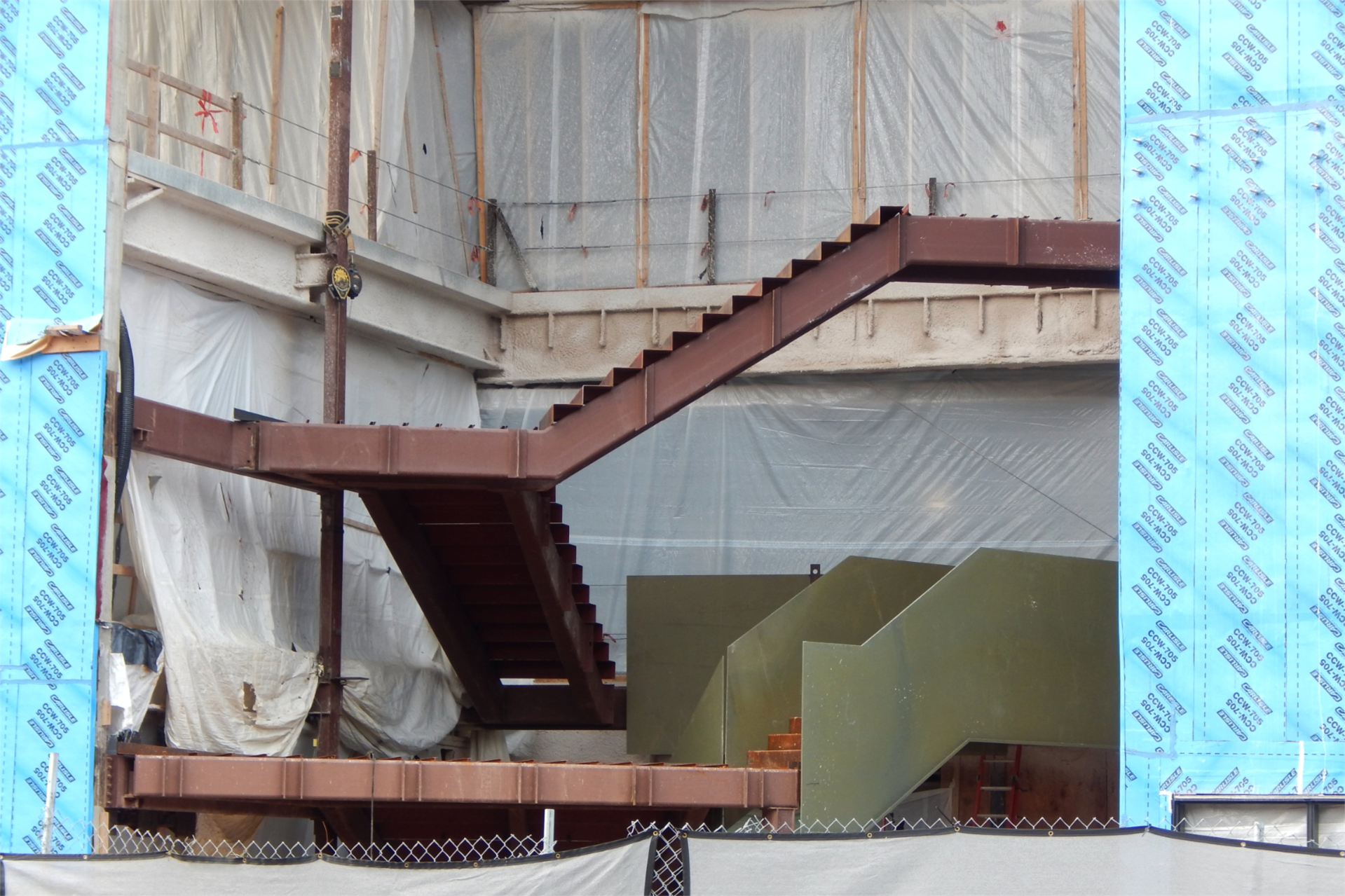 Shown on Sept. 22, the Monumental Stairs have reached the Bonney center's second floor. (Doug Hubley/Bates College)