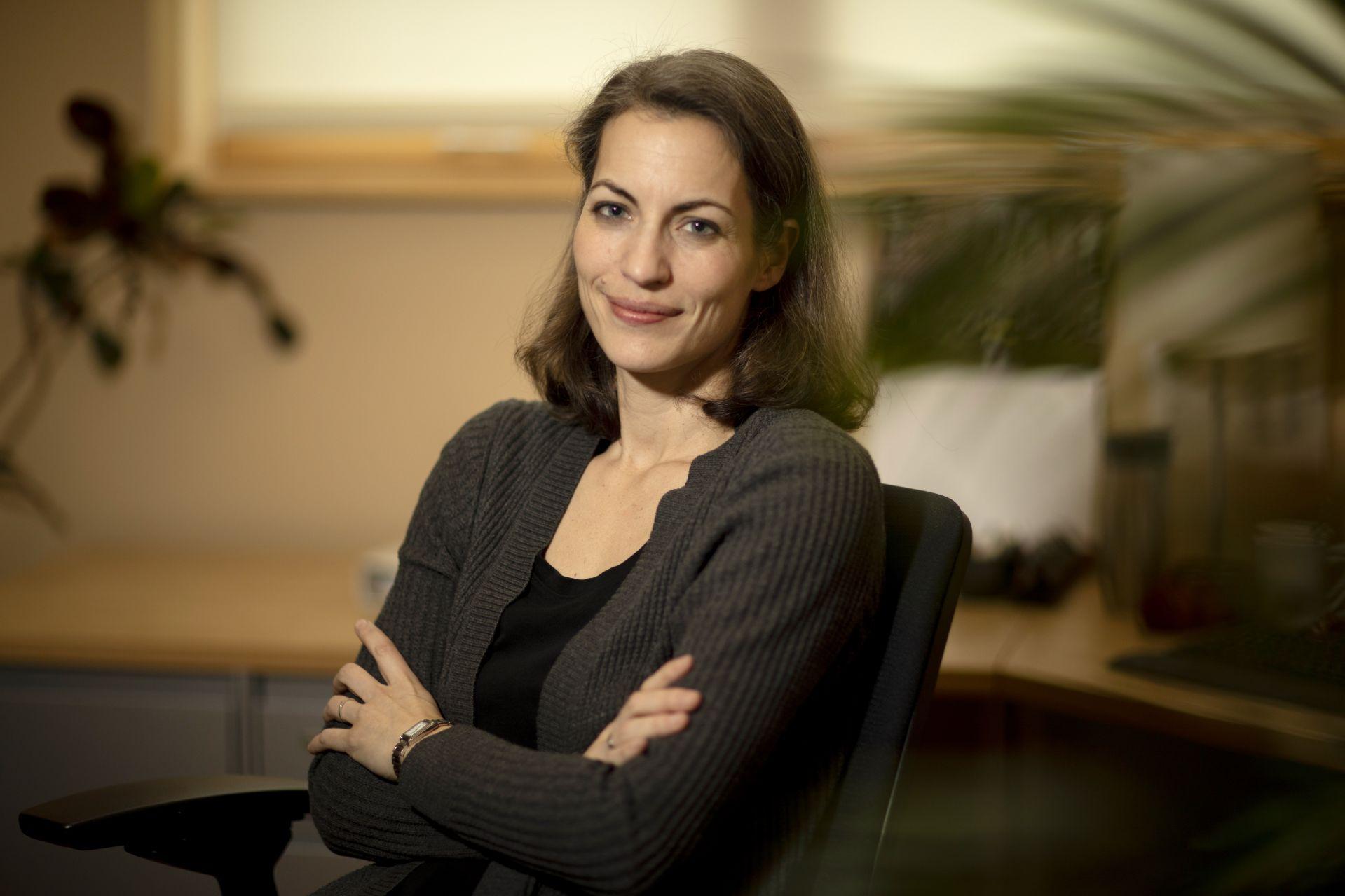 Associate Professor of Environmental Studies Sonja K. Pieck, in her office, Hedge Hall, Room 113.