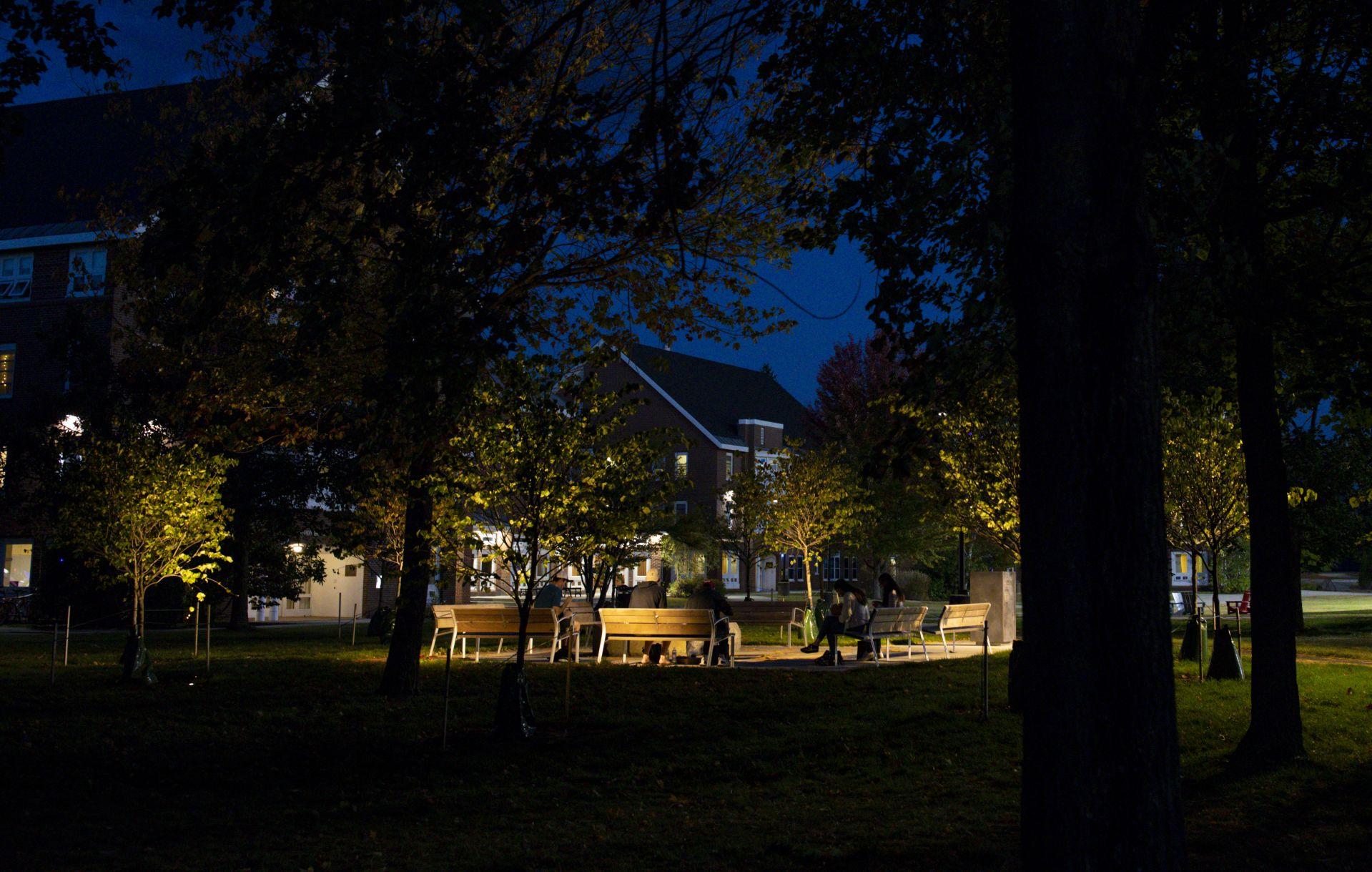 Veterans Plaza at dusk.