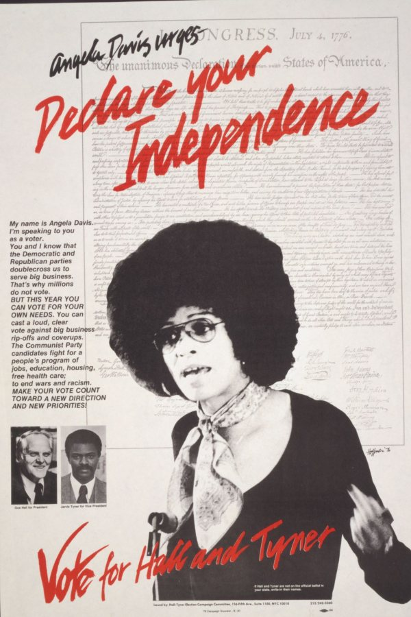 Campaign poster for the Communist Party of the U.S. featuring Angela Davis.