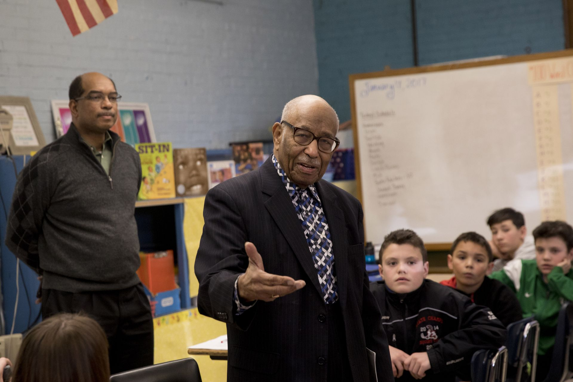 Sixth-graders at Martel Elementary School were surprised during a Martin Luther King Jr. read-in Tuesday when civil rights activist James Reese, 93, walked into the classroom.  Sitting with students and their Bates College reading partners, Reese told them what his life was like before segregation was outlawed in 1964.  Reese and his wife, Neola, 89, came to Martel with their son, James Reese, an associate dean at Bates College. Neola and Jim raised three children in Knoxville, Tennessee. The elder Reese met Dr. King in 1960 when he spoke at the college where Reese was chaplain.  See full Sun Journal Story http://www.sunjournal.com/news/lewiston-auburn/0001/11/30/lewiston-pupils-get-civil-rights-lesson-1960s-activist/2058421