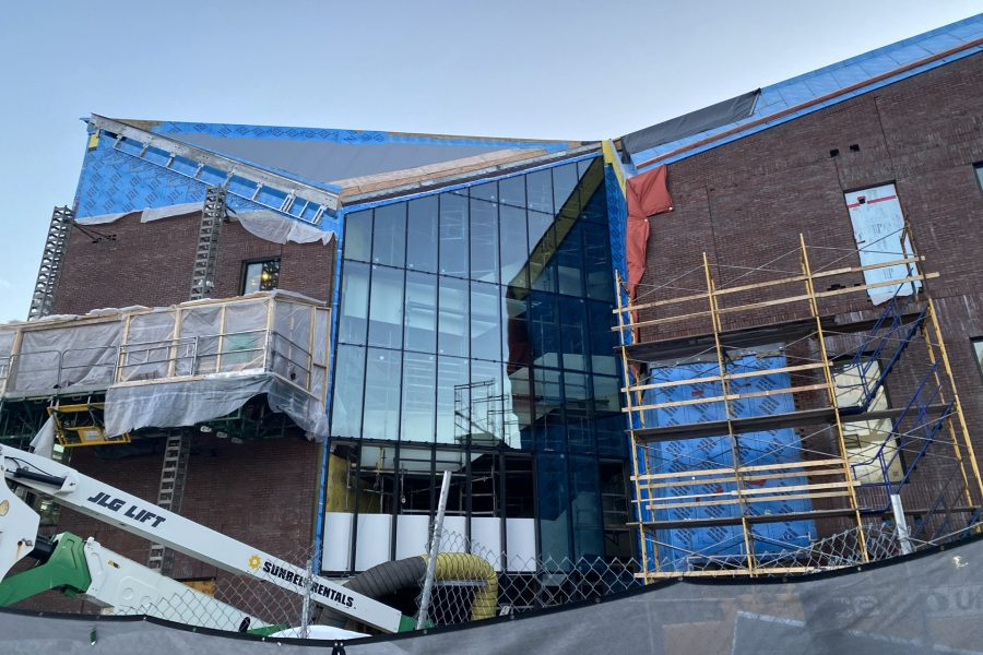 Most of the glass curtain wall showcasing the Bonney building's Monumental Stair is in place in this Feb. 4 image. (Geoff Swift/Bates College)