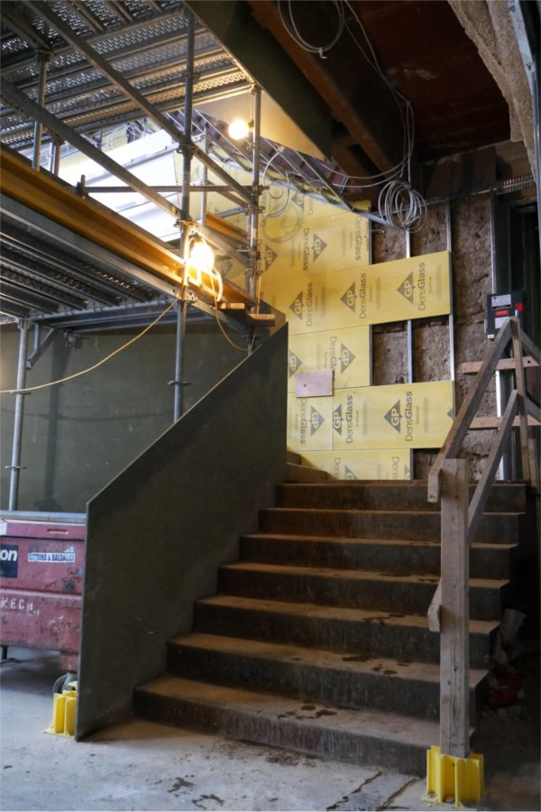 The foot of the Monumental Stair on Feb. 15, 2021. (Doug Hubley/Bates College)