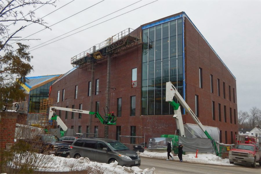 The Bonney Center's glassy Beacon is a signature feature. (Doug Hubley/Bates College)