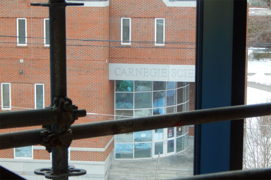 The main entrance to Carnegie Science seen from the third level of the Bonney Center's Monumental Stair. (Doug Hubley/Bates College)