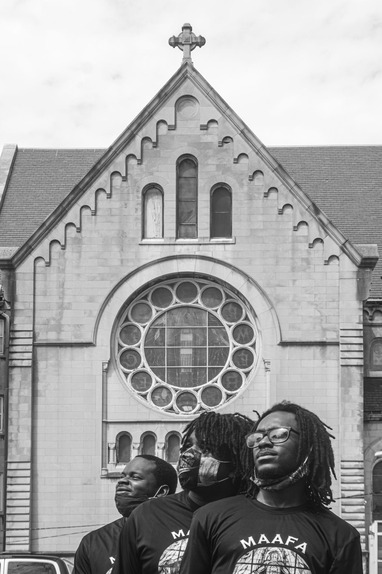 Members of 2020 Maafa Redemption cohort pose of a portrait outside New Mount Missionary Pilgrim Baptist Church in West Garfield Park.