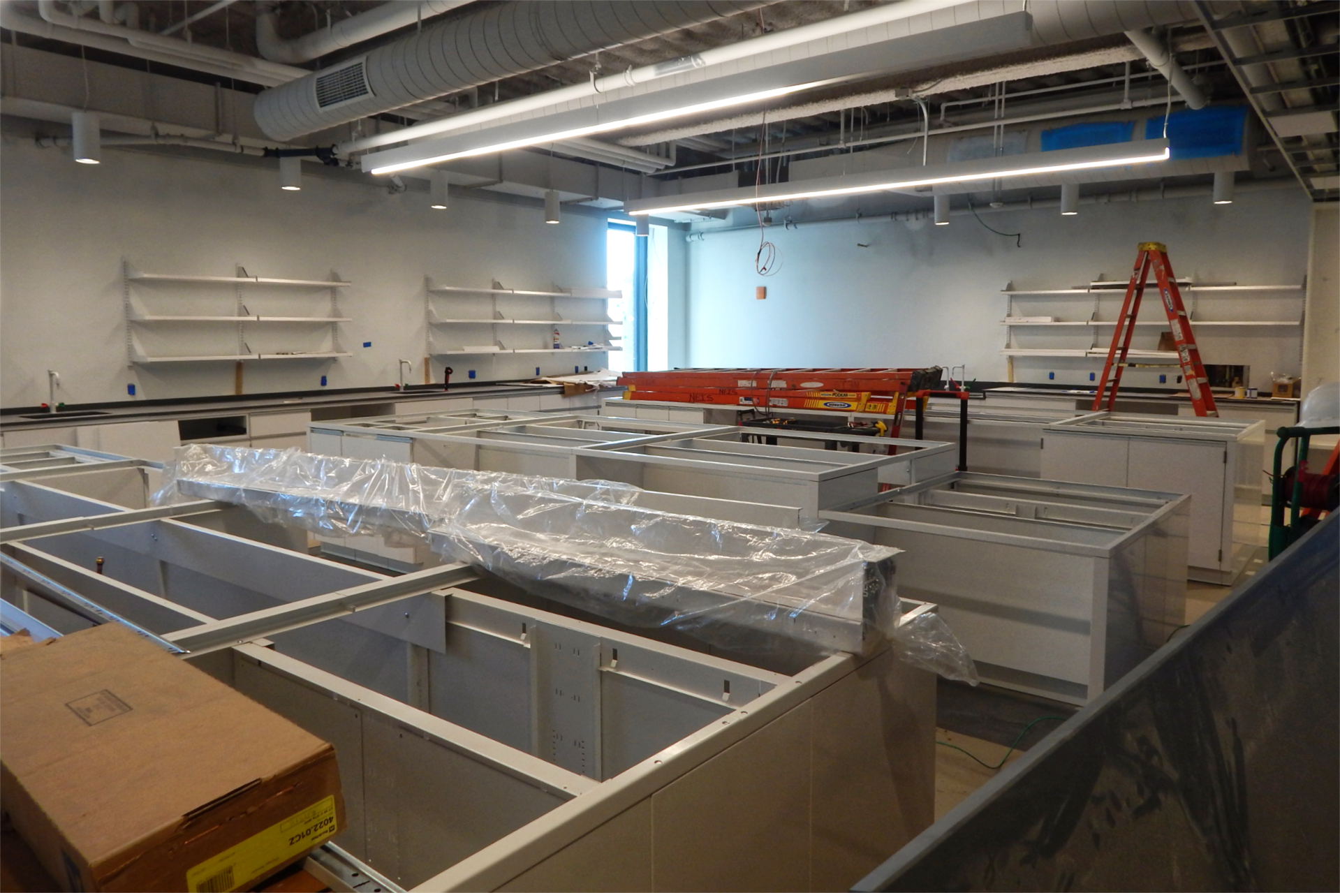 Casework being installed in a second-floor laboratory. (Doug Hubley/Bates College)