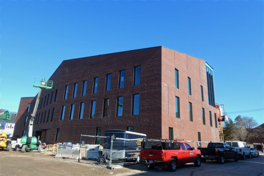 The southeast corner of the Bonney Science Center shown from Bardwell Street on March 22, 2021. (Doug Hubley/Bates College)