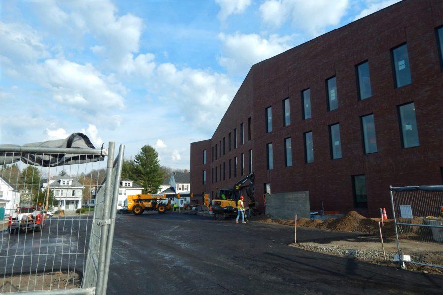 New asphalt behind the science center on April 21, 2021. (Doug Hubley/Bates College)
