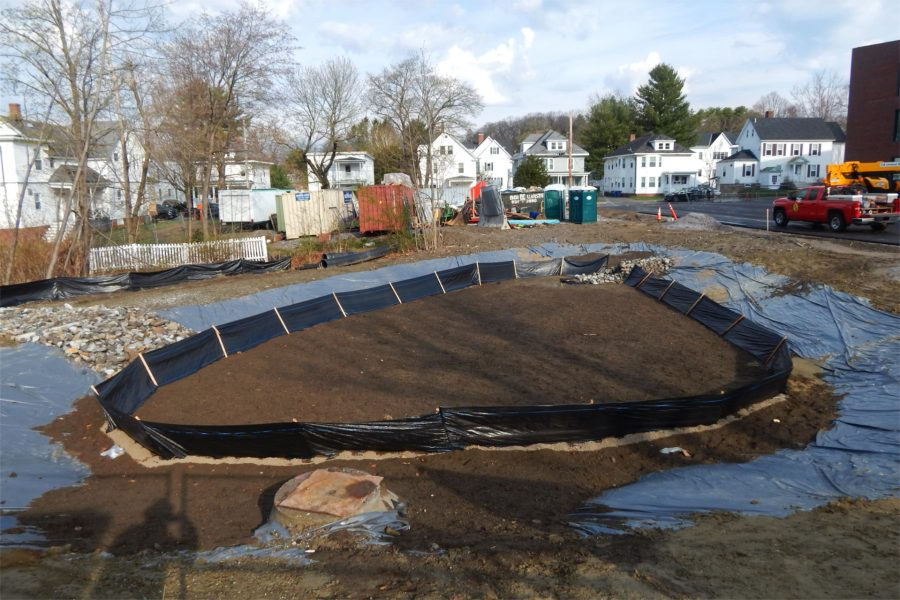 This area at the rear of the science center lot will serve as a catchmant basin for stormwater runoff. (Doug Hubley/Bates College)