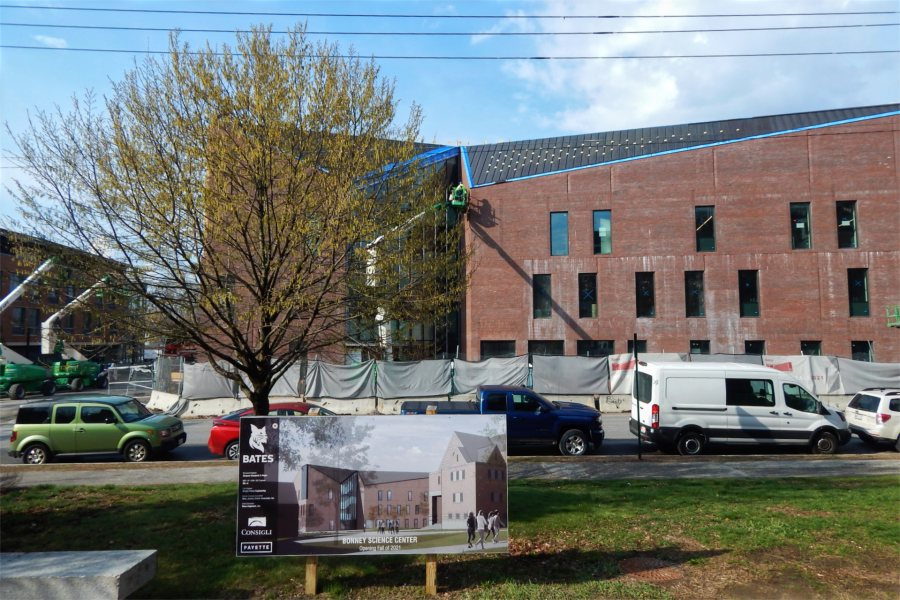 The Bonney Science Center, in rendering and reality on April 21. (Doug Hubley/Bates College)