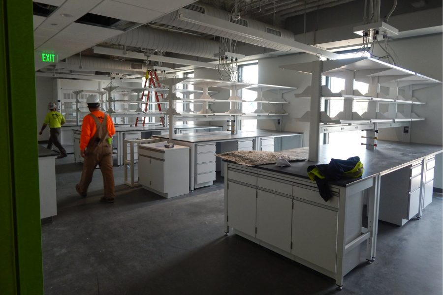This second-floor biology lab will be shared by professors Ryan Bavis, Jason Castro, and Martin Kruse. (Doug Hubley/Bates College)