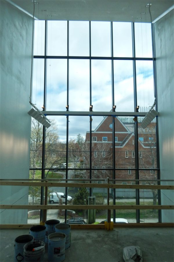 A view of Carnegie Science Hall and the Historic Quad from the upper level of the Beacon. (Doug Hubley/Bates College)
