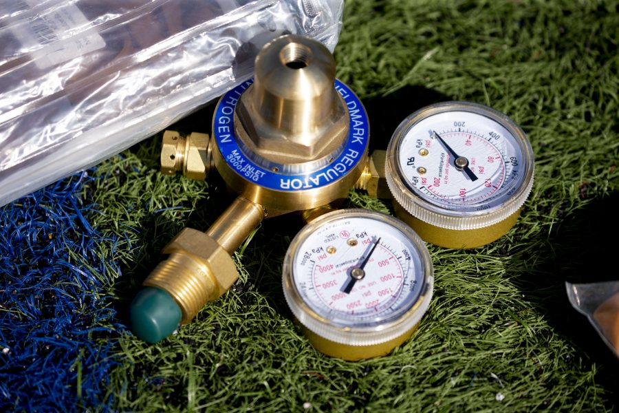 These pressure gauges were actually used as a counterweight to the inflated balloon during preparations. (Phyllis Graber Jensen/Bates College)