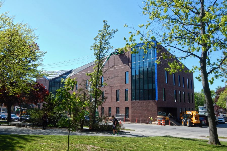 The Bonney Science Center shown from the Historic Quad on May 17, 2021. (Doug Hubley/Bates College)