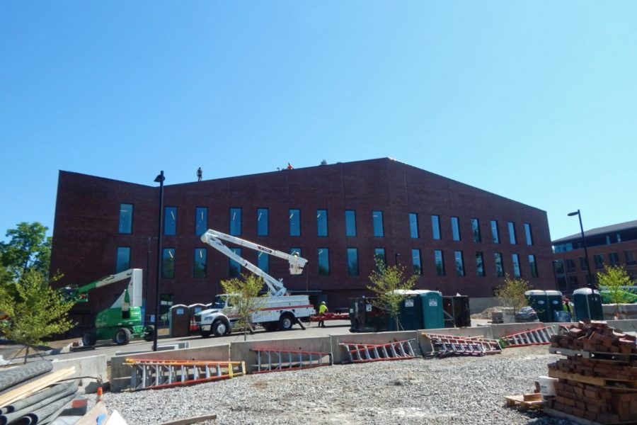 Only finishing touches remain to be done on the exterior of the Bonney Science Center, shown from the south on May 17. (Doug Hubley/Bates College)