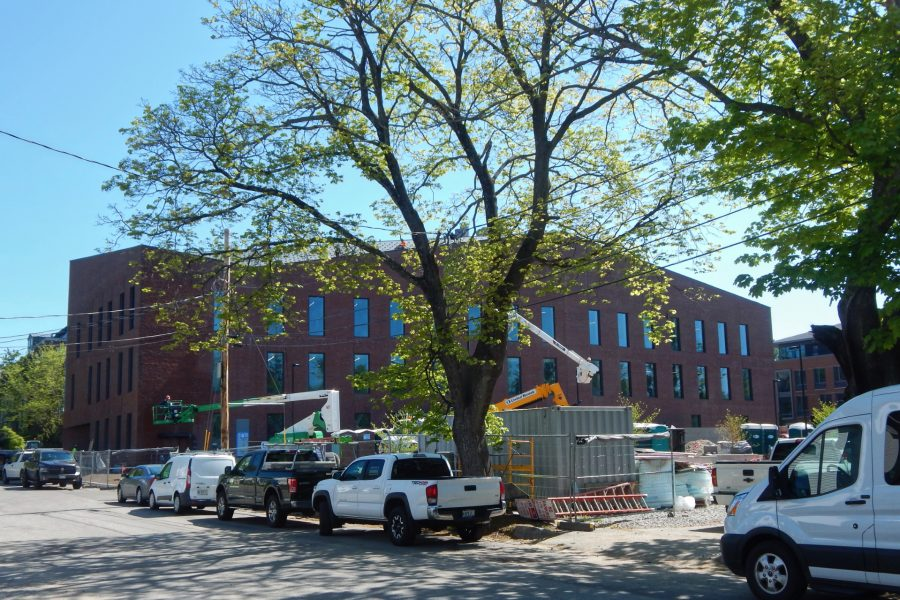 The south side of the Bonney Science Center seen from Nichols Street on May 17, 2021. (Doug Hubley/Bates College)