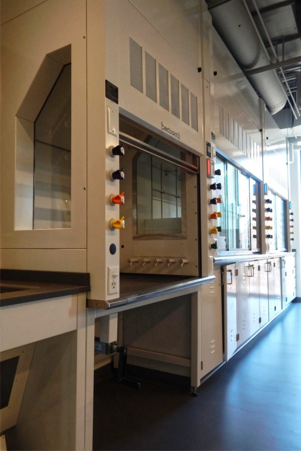 Fume hoods in a chemistry teaching lab on the Bonney Center's third floor. The unit at center can be moved up and down for use by people with physical impairments. (Doug Hubley/Bates College)