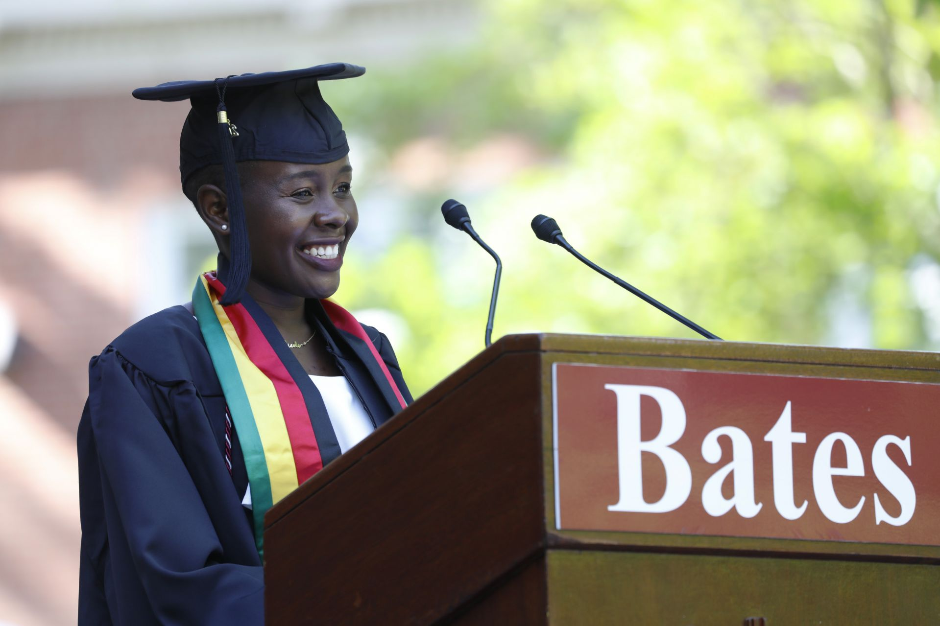 Nicole Kumbula '21 of Chinhoyi, Zimbabwe, delivers her Senior Address in the morning Commencement ceremony on May 27, 2021. (Theophil Syslo/Bates College)