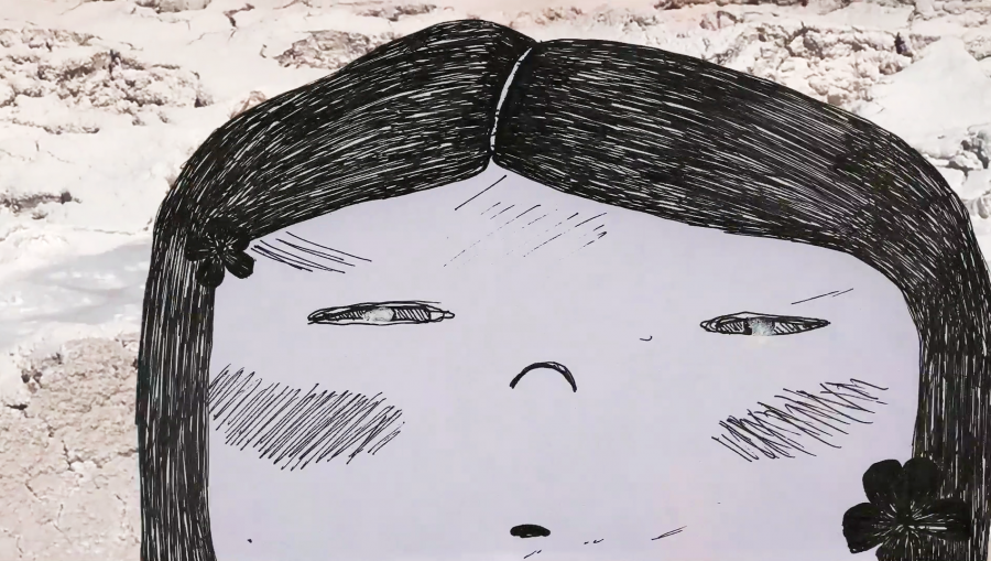 A still from Sakura, which mixes animation and footage from videos shot by Mari Sato.