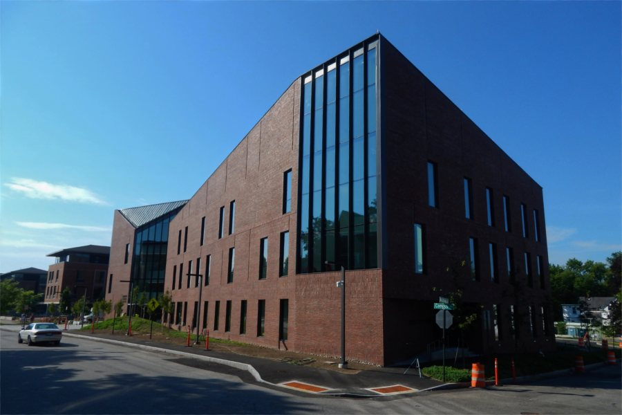 The Bonney Science Center seen from the junction of Campus Avenue and Nichols Street on June 28, 2021. (Doug Hubley/Bates College)