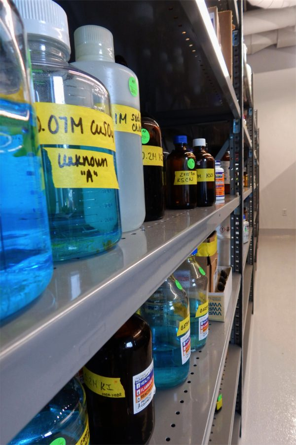 Chemical storage on the first floor of the Bonney Center. (Doug Hubley/Bates College)