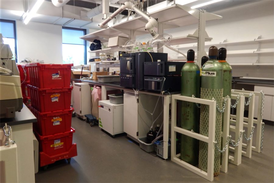 There's plenty of unpacking to do in this chemistry instrumentation room. (Doug Hubley/Bates College)