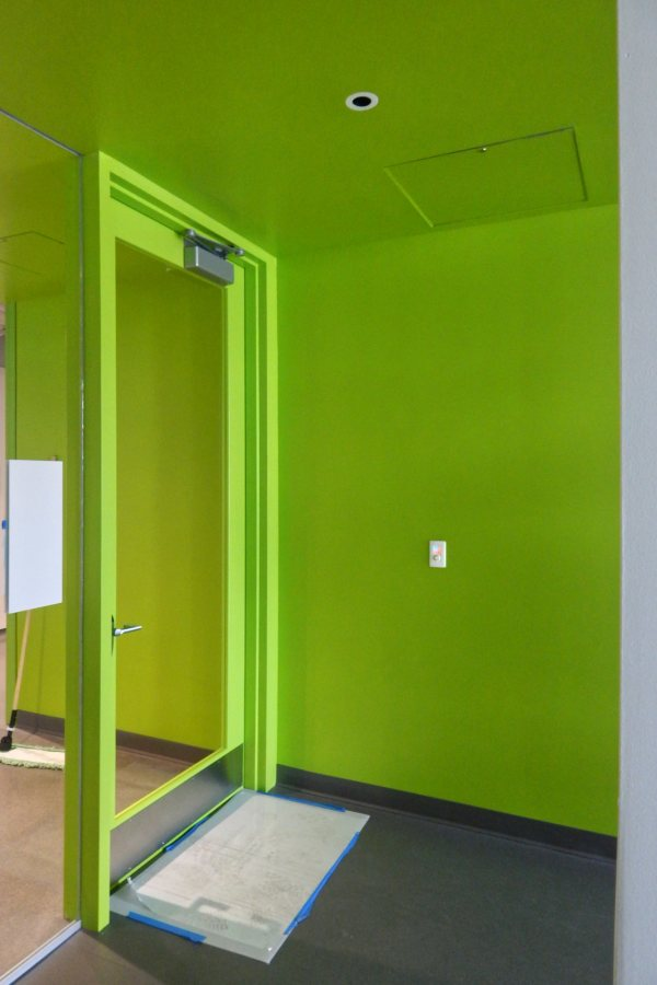 The distinctive green is a hallmark of the firm that designed the Bonney Science Center, Payette. (Doug Hubley/Bates College)