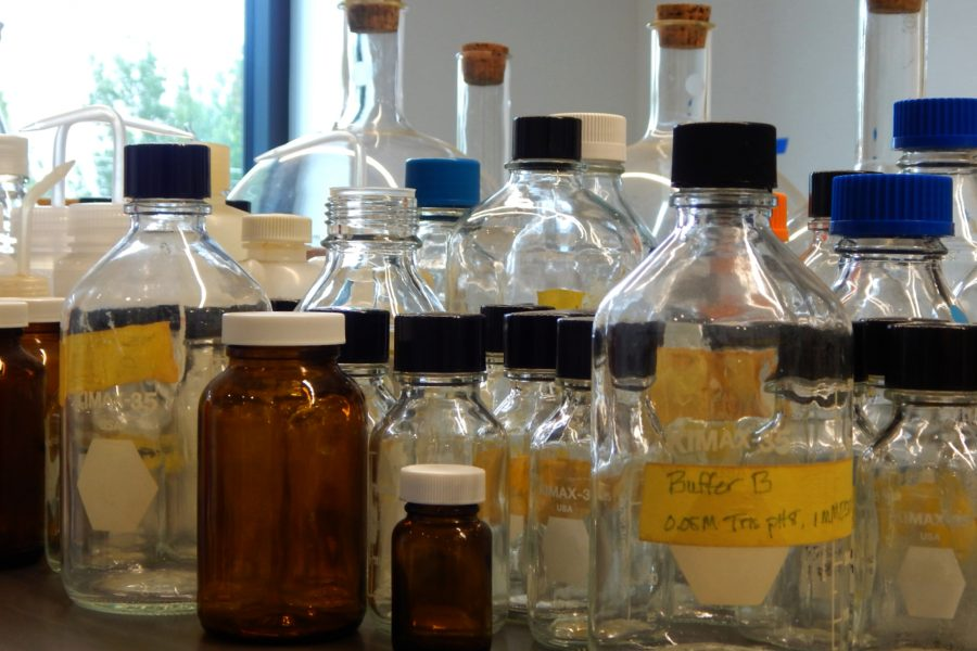 Jars and bottles for chemicals in a second-floor lab. (Doug Hubley/Bates College)