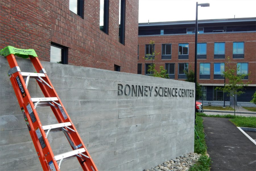 The south face of the Bonney Center with Chu Hall in the background. (Doug Hubley/Bates College)
