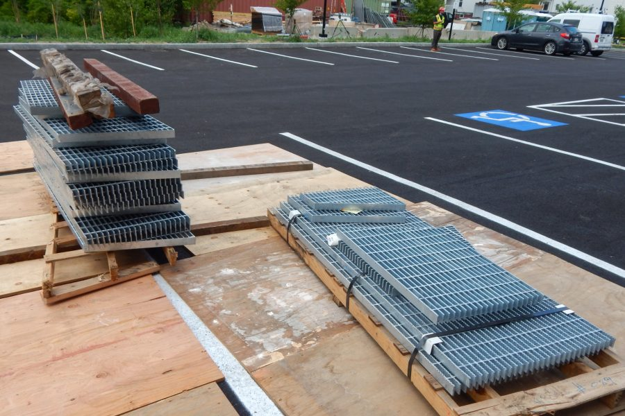 These grates will cover the opening to the Bonney Center's subterranean air intake. (Doug Hubley/Bates College)