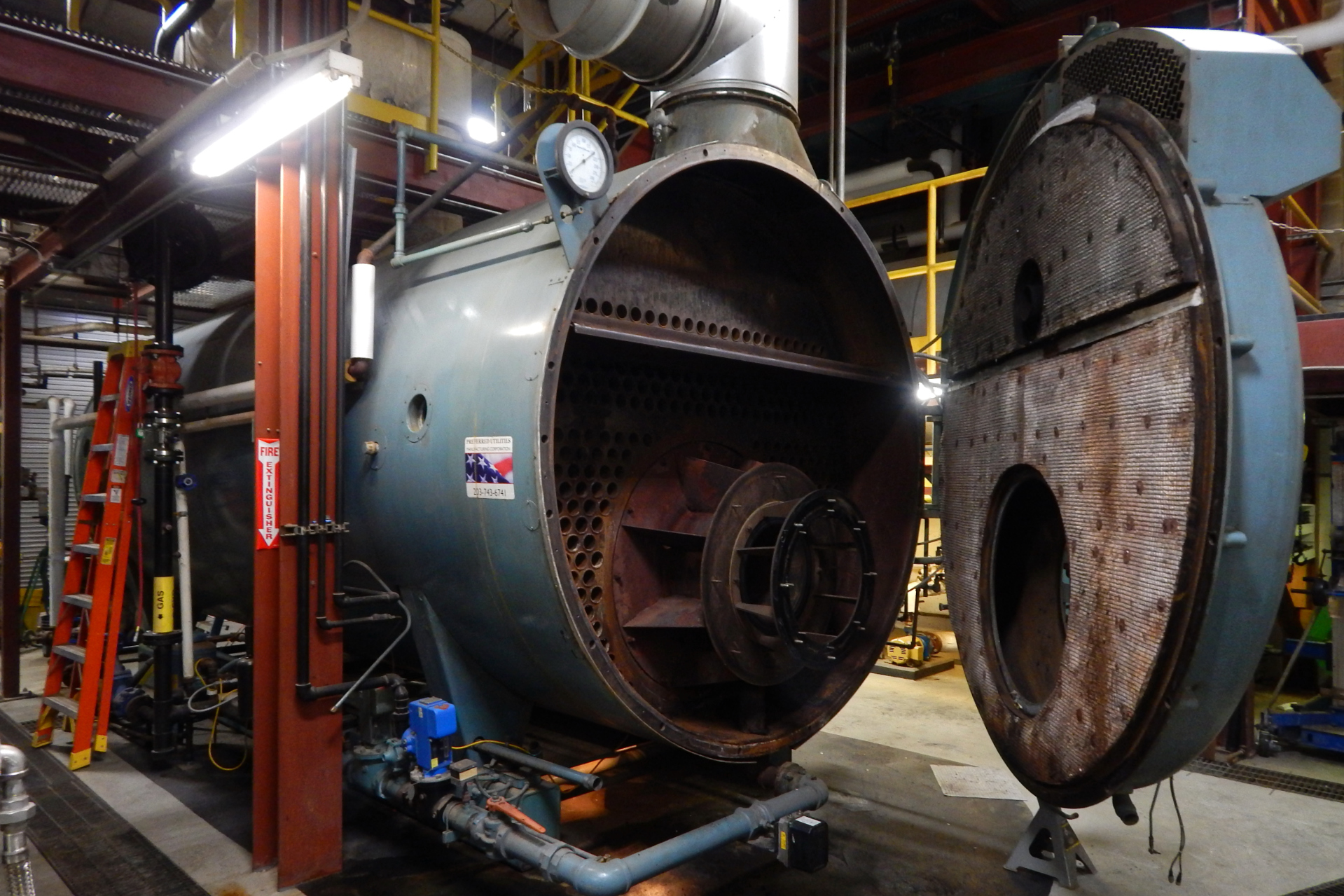 The campus steam plant's Boiler No. 3 will soon be equipped to burn a waste vegetable oil product called LR-100. (Doug Hubley/Bates College)
